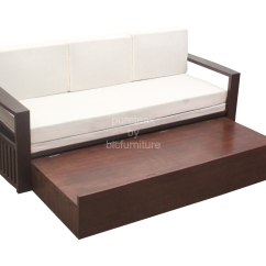 Wood Sofa Bed With Storage Ebay Uk Leather Corner Wooden Day In Teak