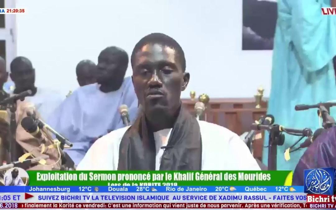 LIVE | Ay jangante ci discours Serigne Mountakha Mbacke Khalif General des Mourides Korite 2018