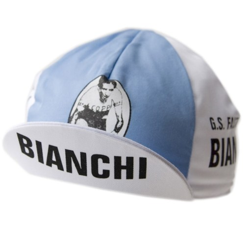 Gorra ciclismo vintage Bianchi Fausto Coppi frontal