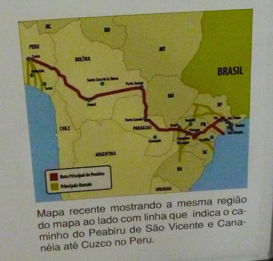 Possível trajeto do Peabiru, trilha de pedestres que ligaria as cidades de Cananéia a Cuzco.