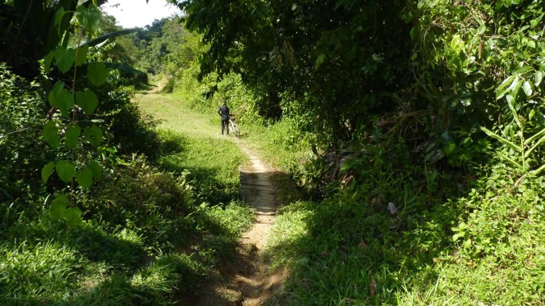 Há várias pinguelas na trilha feitas pelos moradores da região.