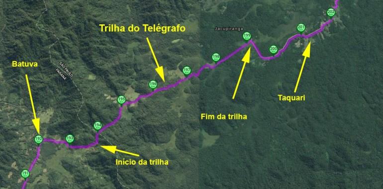 Detalhe da trilha do Telégrafo