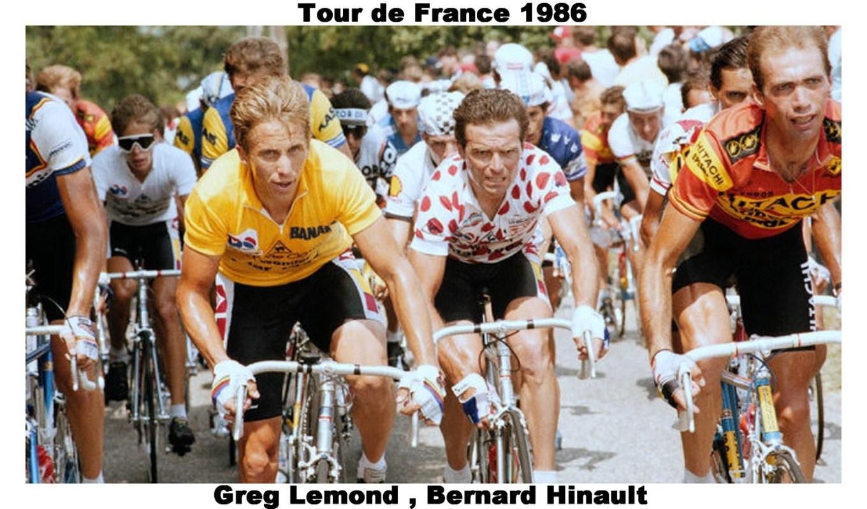 Greg LeMond in giallo e Bernard Hinault in maglia a pois al Tour de France 1986