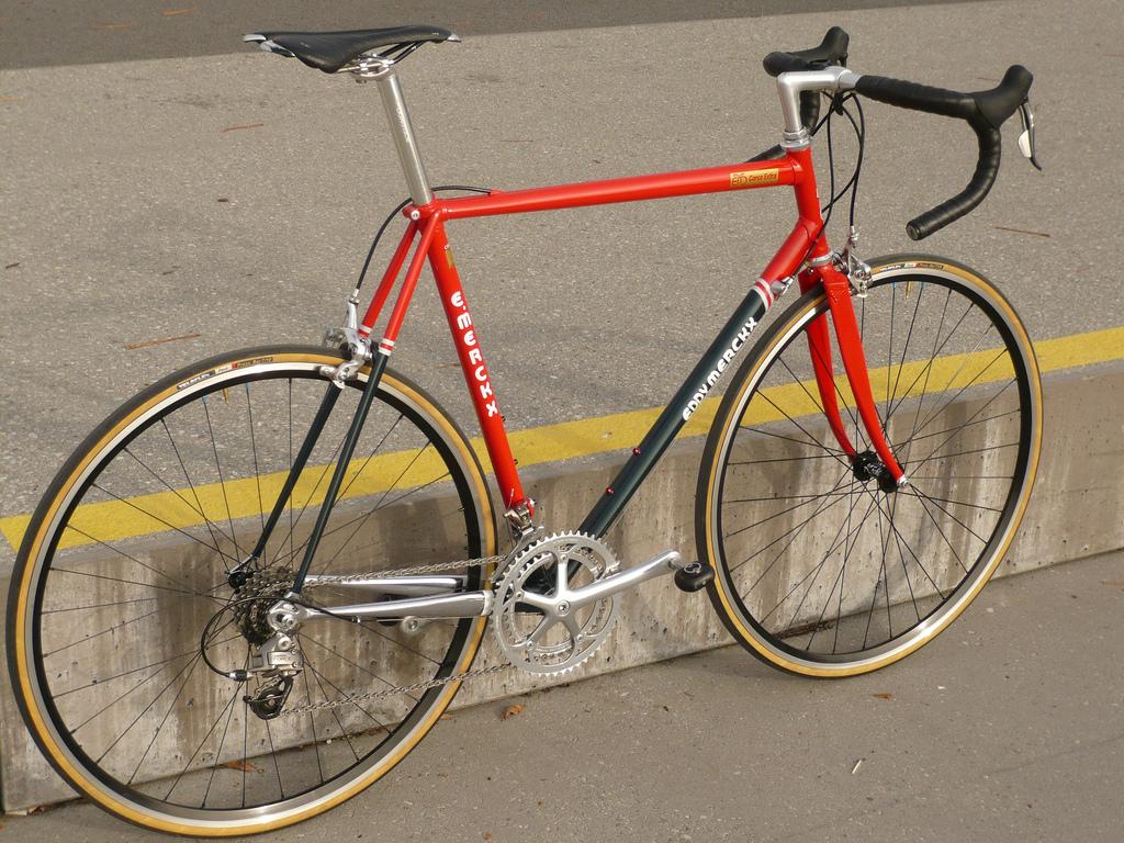 Foto di una vecchia bici da corsa in acciaio ripresa da un forum online di biciclette usate (Bdc-forum.it)