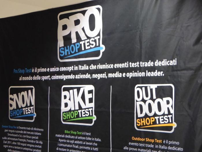 Poster dedicato ai tre grandi eventi organizzati da Pro Shop Test: Snow Shop Test, Bike Shop Test e Outdoor Shop Test (snowpassion)