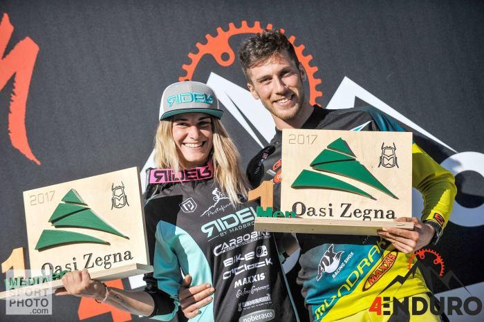 Chiara Pastore e Matteo Raimondi sul podio dopo il successo a Oasi Zegna nel 2017 (4actionsport.it)