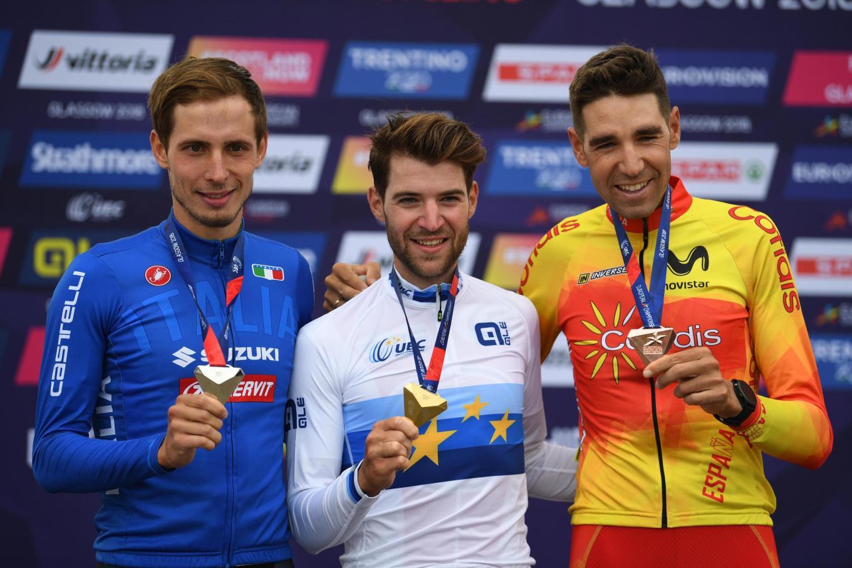 Podio ai campionati europei XC a Glasgow. Da sx: l'argento Luca Braidot, l'oro Lars Forster e il bronzo David Valero Serrano