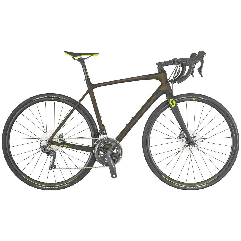 Scott Addict 10 Disc, bici da strada con telaio in carbonio, gruppo Shimano Ultegra (50/34, 11-32), pneumatici Schwalbe Durano Fold da 32 mm e peso di 8,26 kg in taglia 52 (scott-sports website)