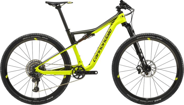 Cannondale Scalpel Si Hi Mod World Cup 2019: forcella Lefty Ocho Carbon 100 mm, gomme Schwalbe Racing Ray 27.5/29x2.25, gruppo Sram XX1 Eagle (cannondale.com)