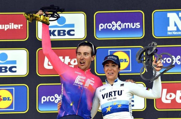 La festa sul podio dei due azzurri al Fiandre 2019: Alberto Bettiol e Marta Bastianelli