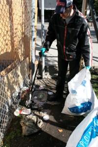 Tom attacking garbage adjacent to Pender