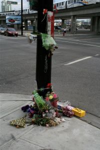 Memorial on NW corner of Expo and Abbott