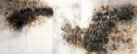 Eric Lee Verehrung, 2008 [EL.08] Oil, ignited gunpowder, ash, paper on five hardboard panels Dimensions: 48 x 114 in.