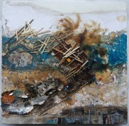 Eric LeeŁódź, 2106[EL.11]oil, papers, wood, circuitry, ash on canvas Dimensions:12 x 12 in. Framed Dimensions: 14 x 14 in.