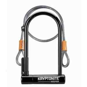 Kryptonite Keeper 12 Standard U-Lock with 4 foot Kryptoflex cable Sold Secure Silver SALE