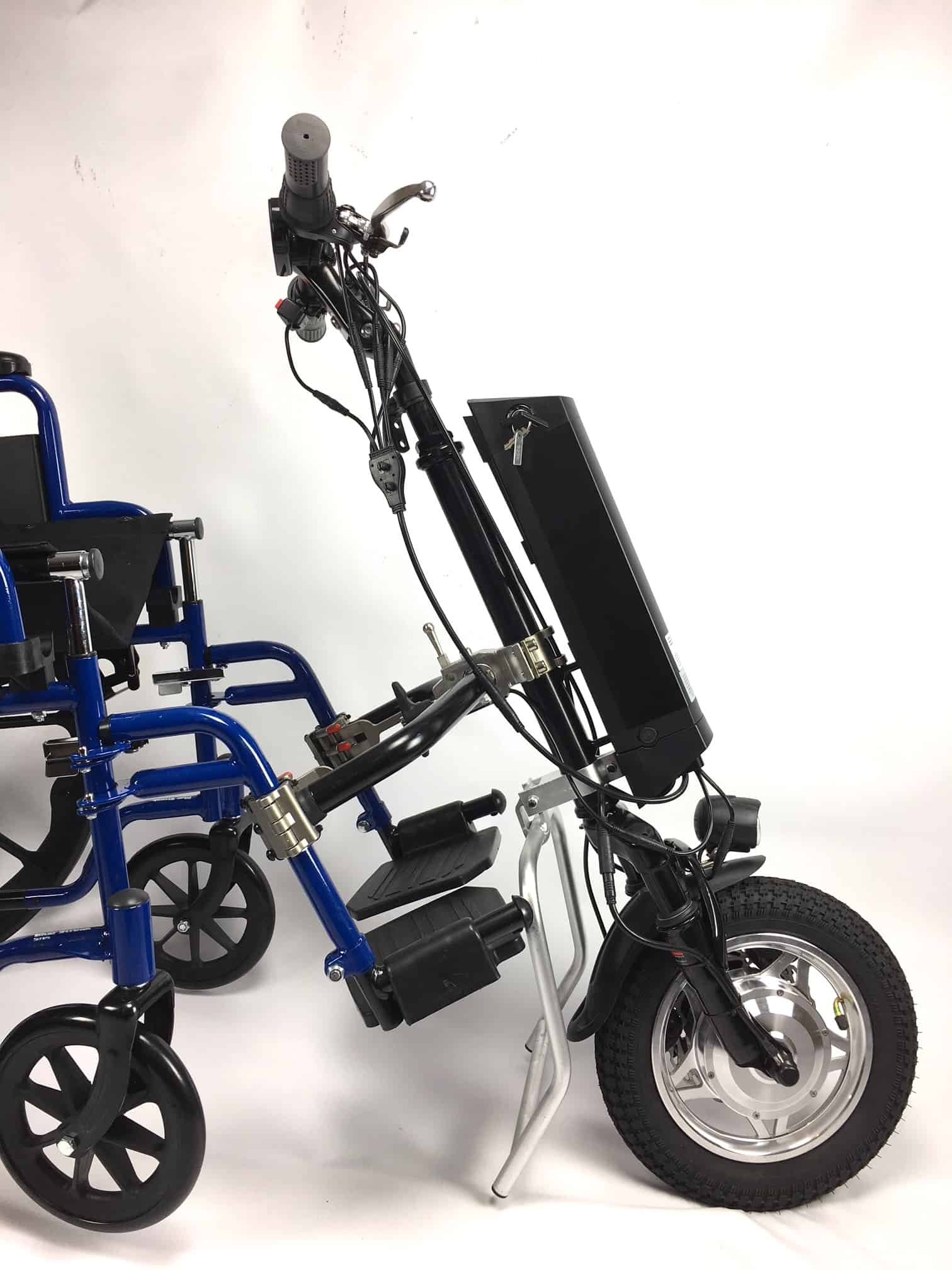 wheel chair motor glider rocker chairs electric wheelchair attachment bicycle works