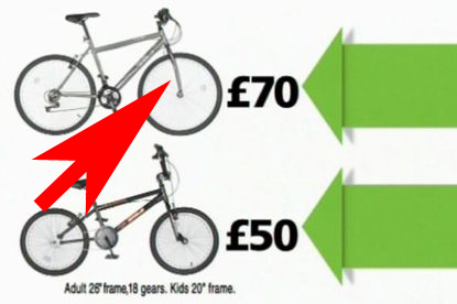 A still shot from the first Asda TV ad showing bike forks backwards