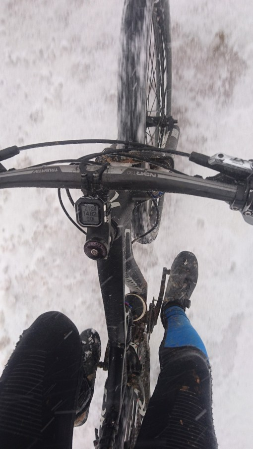 Snow riding: I can't recommend it more highly. If you look closely you can see the snow being blown across the bike.