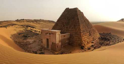 My favourite of the 200 pyramids at Meröe, Sudan. Here's where the kings and aristocrats of the Kingdom of Kush were laid to rest.