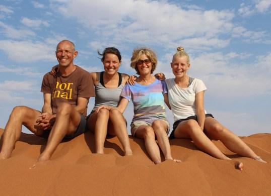 The Phillips family (Stuart, Carla, Diane & Tegan) at Sossusvlei, Namibia