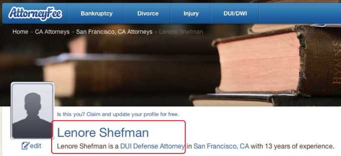 Lenore Shefman on Attorney Fee