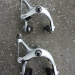 Very rare Shimano Sante brake caliper set from the 1980s with silver and white