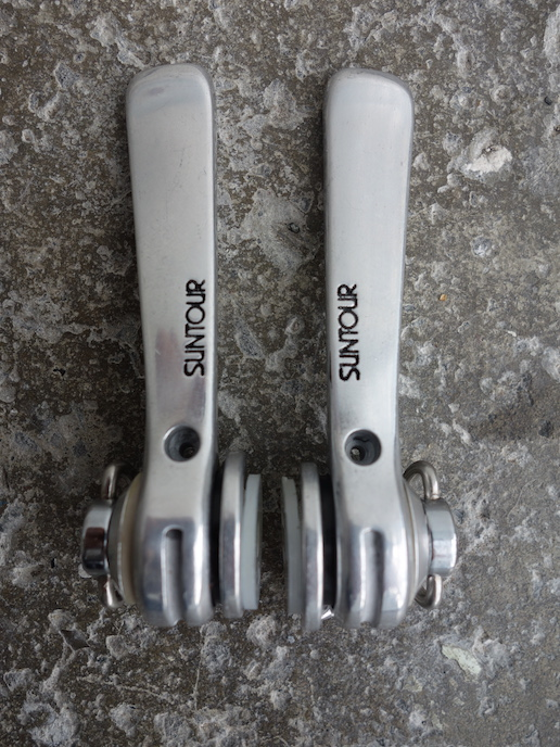 Suntour friction down tube shifters - Cyclone model from 1980s