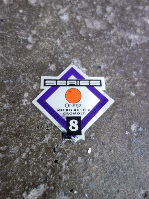 NOS Orange frame tubing decal - series 8 steel
