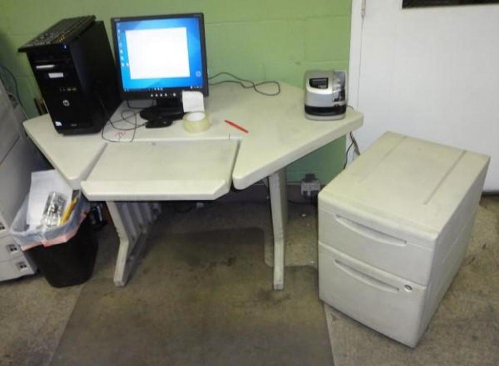 Rubbermaid Hexagon Desk with Tilt Keyboard Tray and