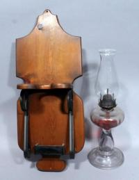 "Vintage Kerosene Oil Lamp, 19""T, with Wood Wall Mount Lamp ..."