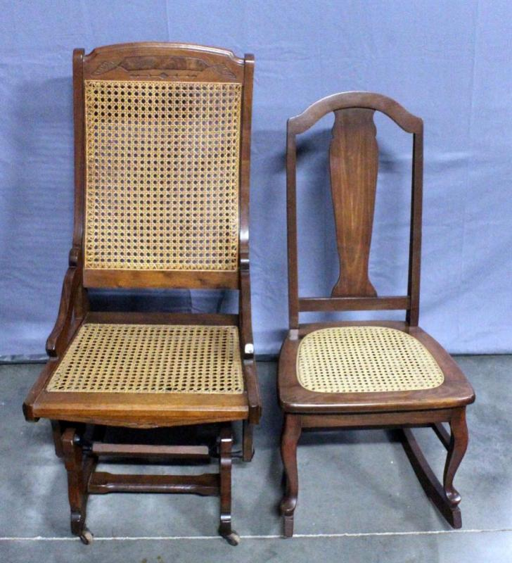 small rocking chairs swivel tub chair fabric vintage cane seat rocker and glider on casters lot 19 of 242 missing dowel bottom