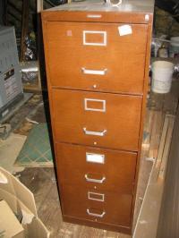 Statesman 4 drawer metal (wood grain look) file cabinet ...