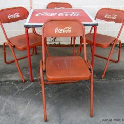 Coca Cola Chairs And Tables Monkey Potty Chair Patio Table 4 Stacking Metal Lot 1171 Of 315