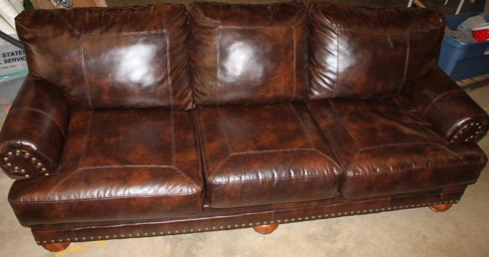 brown leather studded sofa how to repair a from cat scratches couch current price 210