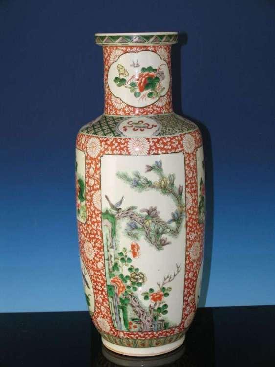 Chinese 19th C. Famille Verte mallet vase
