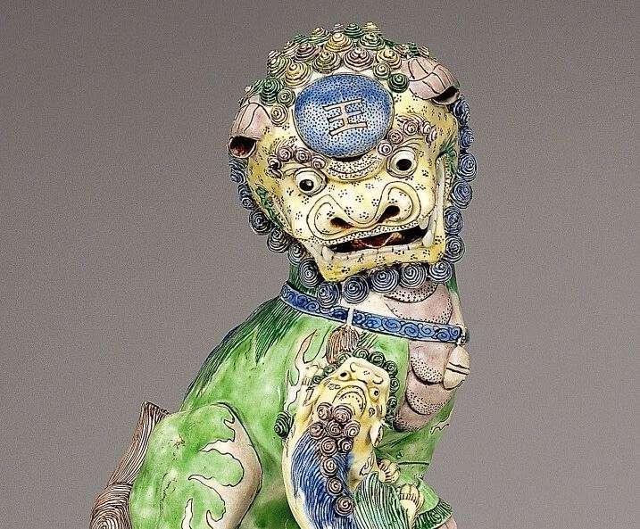 Chinese Kangxi Famille Verte Foo Lion Head