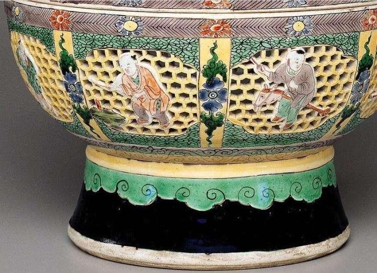 Detail Kangxi Famille Jaune-Verte Perfume Ball