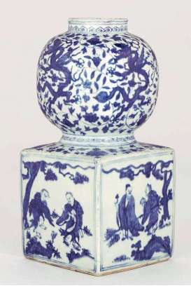RARE BLUE AND WHITE DOUBLE-GOURD VASE JIAJING