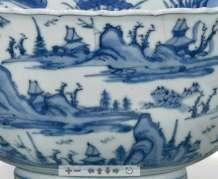 CHINESE Jiajing BLUE WHITE BARBED RIM BOWL