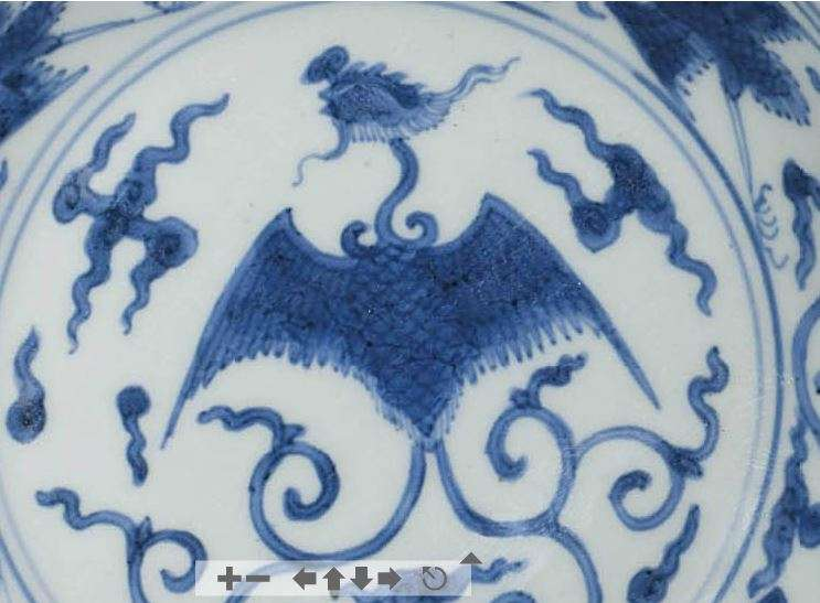 jiajing blue and white phoenix plate