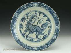 Ming Blue and White Plate with Kirin