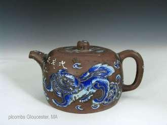 Yixing Blue Enamel Teapot