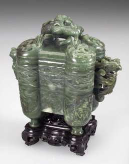 18th Chinese Green Nephrite Incense Burner
