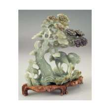 DETAIL, 20th C. Nephrite Statue with Birds, Deer and Pine Tree