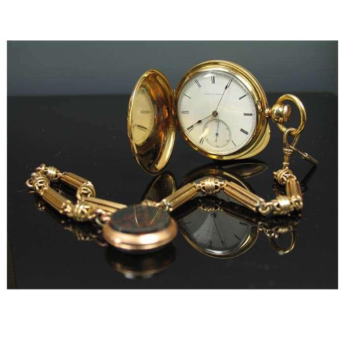 gold hunter case pocket watch
