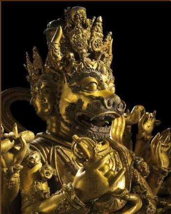 Ming Gilt-Bronze Figure of Vajrabhairava Ekavira