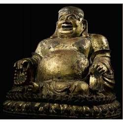 LARGE GILT-LACQUER BRONZE FIGURE OF BUDAI