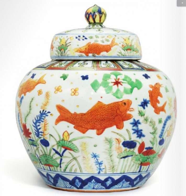 Wucai Jiajing Fish jar