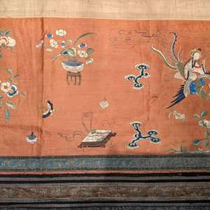Antique Chinese Textile, Embroidered Silk Table or Altar Frontal, Panel or Wall Hanging 77.5″ Long, Deities Dragon Phoenix Flaming Pearl Clouds
