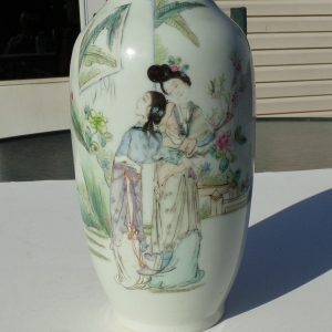 20th C. Republic Period Porcelain Vase of Beauties with Calligraphy